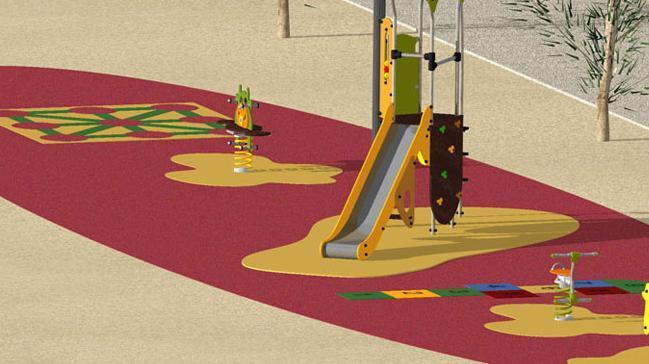 Suelos sintéticos en todos los parques infantiles.